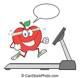 carattere, mela rossa, sano