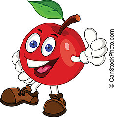 carattere, mela, rosso, cartone animato