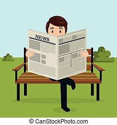 carattere, parco, avatar, giornale, uomo affari, lettura