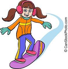 carattere, ragazza, illustrazione, cartone animato, snowboarding