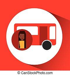 carattere, ragazza, viaggiatore, autobus, disegno