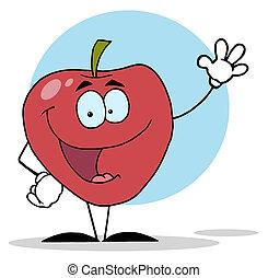 carattere, rosso, ondeggiare, mela