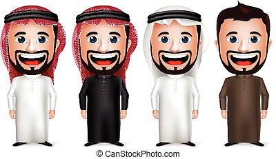 carattere, saudita, arabo, uomo affari