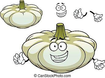 carattere, schiacciare, pattypan, verdura, bianco, cartone animato