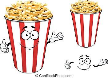 carattere, secchio, carta, popcorn, strisce, cartone animato, rosso