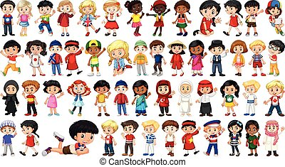 carattere, set, multicultural, bambini