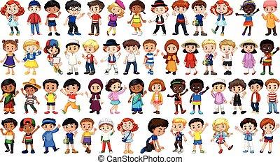 carattere, set, multicultural