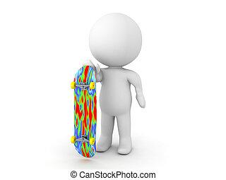 carattere, skateboard, presa a terra, 3d
