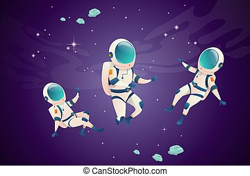 carattere, spazio aperto, collezione, astronauti