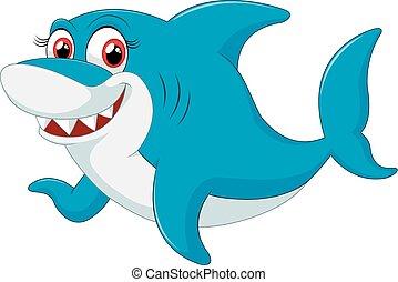 carattere, squalo, comico