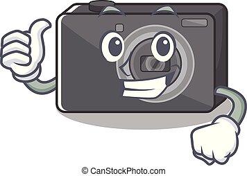 carattere, su, isolato, macchina fotografica digitale, pollici