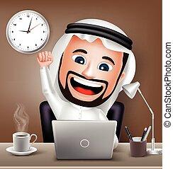 carattere, uomo, arabo, lavorativo
