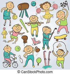 carattere, vettore, lettori, scarabocchiare, cartone animato, sport