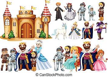 caratteri, fairytale, castello, costruzione