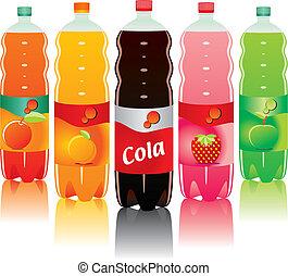 carbonated, bottiglie, bevanda