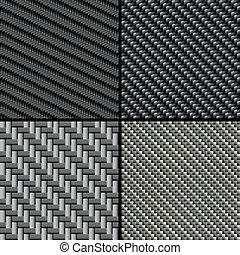 carbonio, fibra, set, seamless, modelli