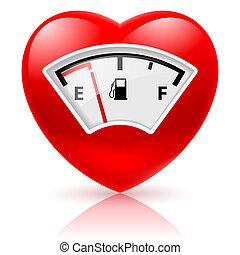 carburante, cuore, indicatore
