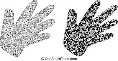 carcassa, mano, polygonal, maglia, mosaico, icona