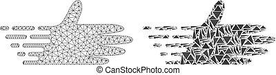 carcassa, mano, polygonal, maglia, spostamento, mosaico, icona