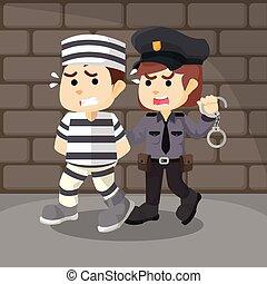 carcerato, presa, polizia, donne