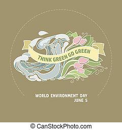 card., pensare, ambiente, verde, andare, mondo, green., giorno
