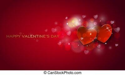 card., valentines, augurio, cuori, shinning, giorno, felice