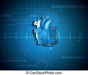 cardiologia, medico, astratto, fondo., tecnologia, concept.