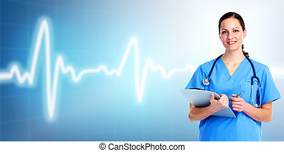 care., dottore, salute, medico, woman.