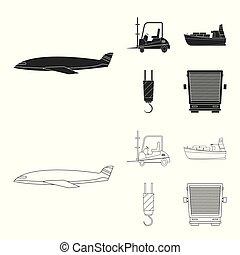 carico, beni, illustration., collezione, vettore, disegno, magazzino, logo., casato