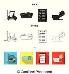carico, beni, illustration., illustrazione, vettore, collezione, magazzino, logo., casato
