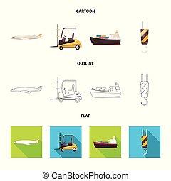 carico, beni, illustration., oggetto, isolato, collezione, simbolo., vettore, magazzino, casato