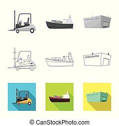carico, beni, illustration., segno., oggetto, isolato, collezione, vettore, magazzino, casato