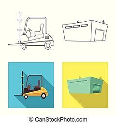 carico, beni, set, illustration., vettore, disegno, magazzino, logo., casato