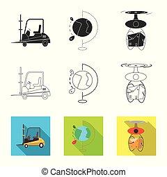 carico, beni, set, stock., oggetto, isolato, simbolo., vettore, magazzino, icona