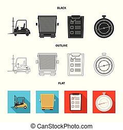 carico, beni, set, stock., oggetto, isolato, vettore, magazzino, icon., icona