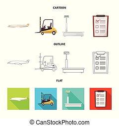 carico, beni, simbolo, oggetto, web., isolato, collezione, magazzino, logo., casato