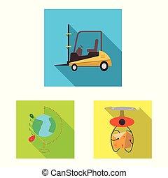 carico, beni, simbolo, oggetto, web., isolato, set, magazzino, logo., casato
