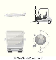 carico, beni, simbolo, web., collezione, vettore, disegno, magazzino, icon., casato