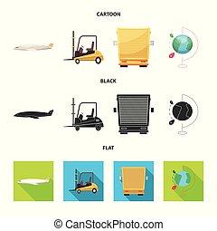 carico, beni, stock., collezione, vettore, disegno, magazzino, logo., icona