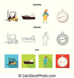 carico, beni, stock., illustrazione, vettore, collezione, magazzino, icon., icona