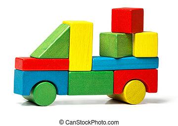 carico, blocchi giocattolo, automobile legno, sopra, consegna, multicolor, fondo, camion, bianco, trasporto