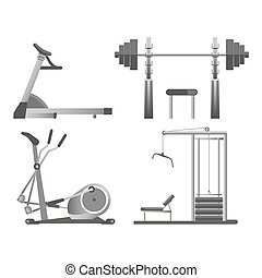 carico pesante, tutto, generi, leva piedi, apparato, solido, moderno, metallo, isolato, illustrazione, blocchi, orbitrek, vettore, nero, addestramento, verghe, pesi, cartone animato, fisico