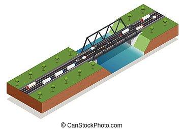 carico, ponte, isometrico, cargo., illustration., transport., sopra, commerciale, river., vettore, vario, camion, automobile., tipi, logistics.