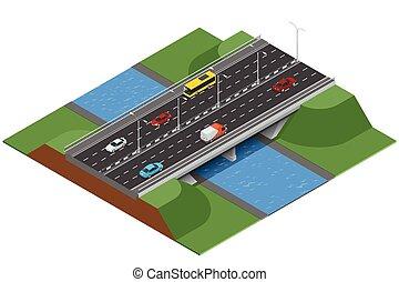 carico, ponte, isometrico, cargo., transport., sopra, commerciale, appartamento, river., vettore, vario, illustrazione, logistics., tipi, 3d