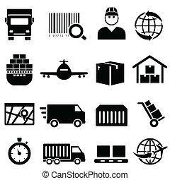 carico, spedizione marittima, icone