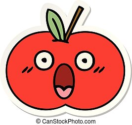 carino, adesivo, mela, rosso, cartone animato