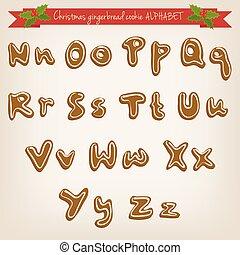 carino, alfabeto, mano, vettore, biscotto, pan zenzero, disegnato, natale