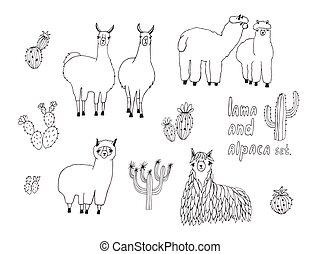 carino, alpaca, set., cactus, illustrazione, mano, vettore, disegnato, lama