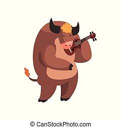 carino, animale, mucca, musicista, carattere, illustrazione, violino, strumento, vettore, fondo, bianco, musicale, gioco, cartone animato