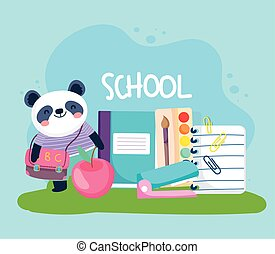 carino, animale, scuola, panda